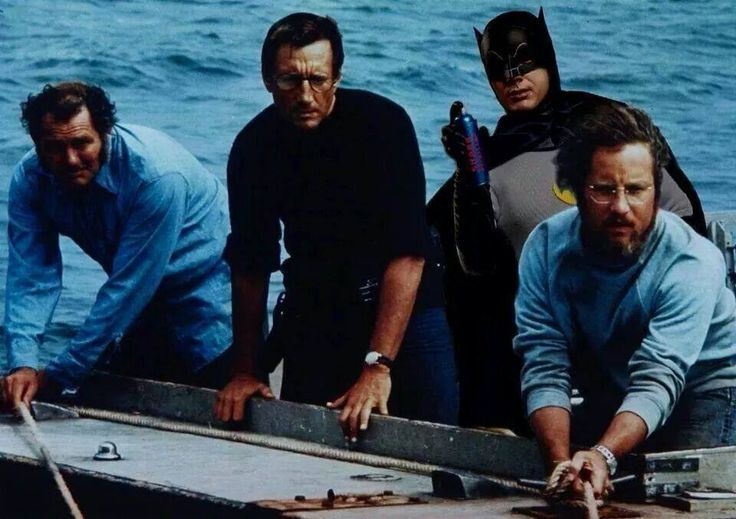 Had Batman been there, more people may have survived! Thx Shawn! #Jaws #AdamWest #SharkRepellant #UtilityBelt #Mashup