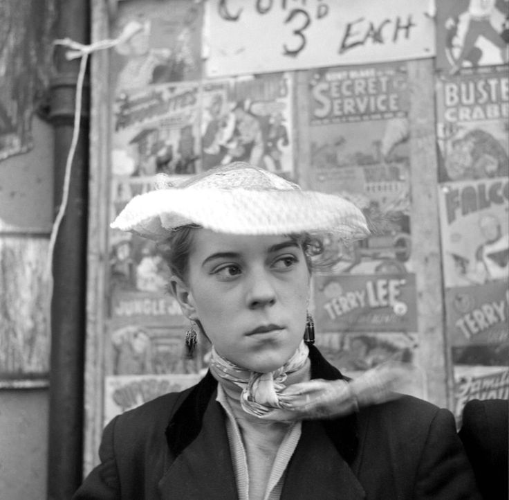 Photo by Ken Russell - January 1955 The last of the Teddy Girls Iris Thornton of Plaistow in front of a comic stall. ©2006 TopFoto/Ken Russell
