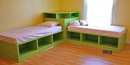 DIY Plans to make these cool corner beds.  These would be great in the family room in our basement.