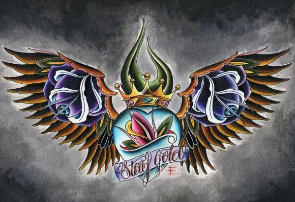 Stay Gold by English Wings Heart Crown Tattoo Artwork Canvas Art Print