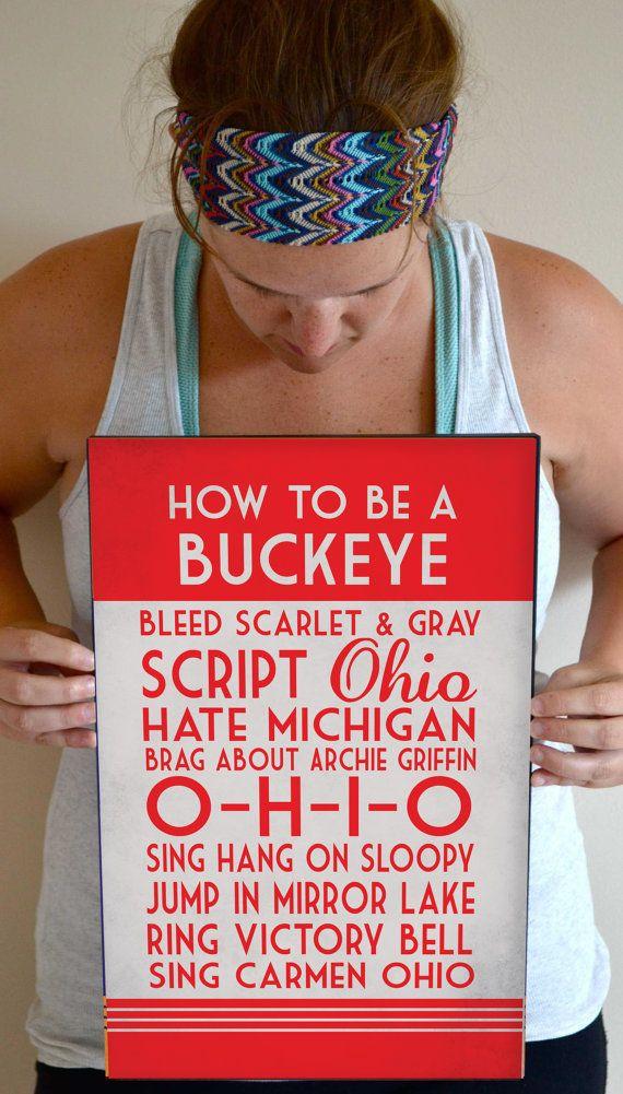 Ohio State Art Print, Buckeye Quote Poster Sign, Buckeye Football Decor 11 x 17