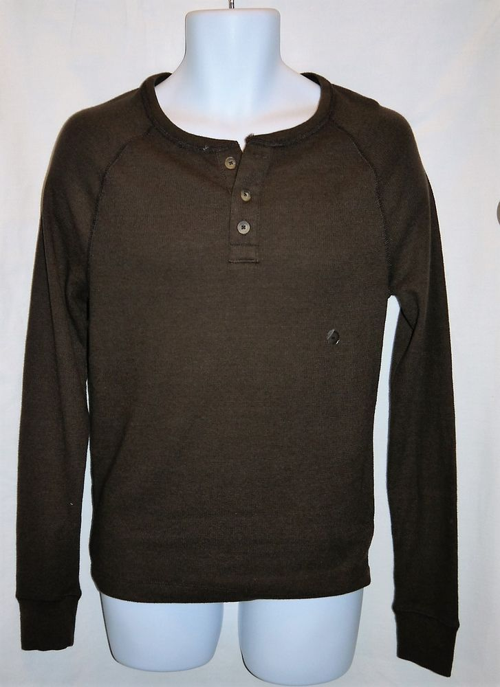 Aeropostale Thermal Henley Mens Size S Brown Long Sleeve Nwt #Aropostale #Henley
