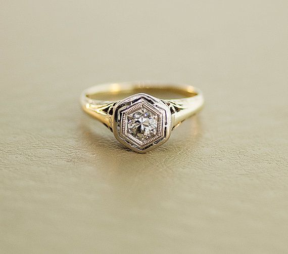 Antique Edwardian Ring  Filigree Diamond by SITFineJewelry on Etsy, $1895.00