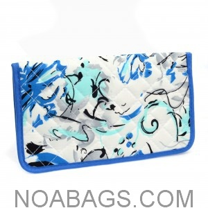 Portefeuille Femme Original en Coton Blanc et Bleu