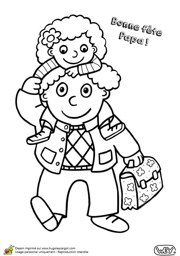 Papa pose sa petite fille sur les paules un dessin - Bisous dessin ...