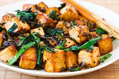 Stir-Fried Tofu with Scallions, Garlic, Ginger, and Soy Sauce  [#SouthBeachDiet friendly from Kalyn's Kitchen]