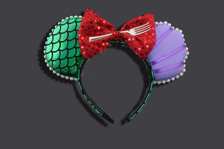 The Original Mermaid Princess Mouse Ear Headband with Fork & Bow by ModernMouseBoutique on Etsy https://www.etsy.com/uk/listing/224859013/the-original-mermaid-princess-mouse-ear