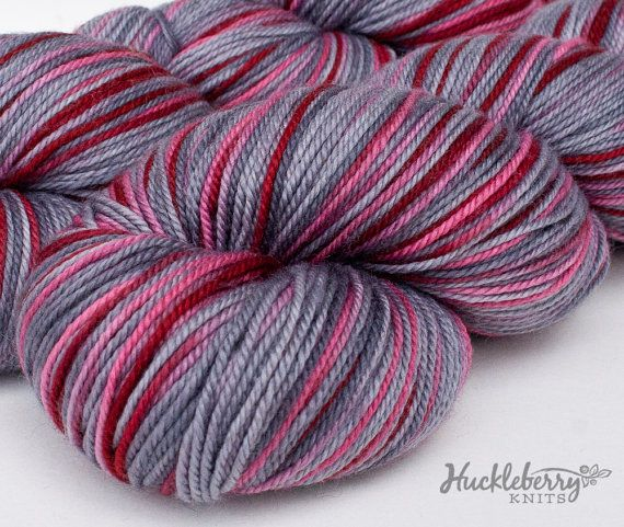 Grey and red 80/10/10 MCN sock yarn 4 oz by huckleberryknits, $27.00