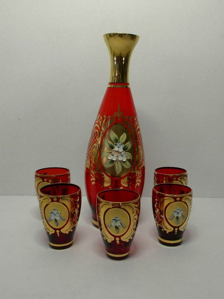 Vintage Czech Bohemian Moser Ruby Red Guilded Gold Flower Decanter Set Bohemian Glassware