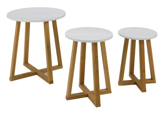Tables basses Confo Déco Plateau plaque de mélamine. Pieds bambou Dim : Petite : H40 cm x D30 cm Moyenne : H45 cm x D34 cm Grande : H50 cm x D48 cm Prix : 85.40 euros