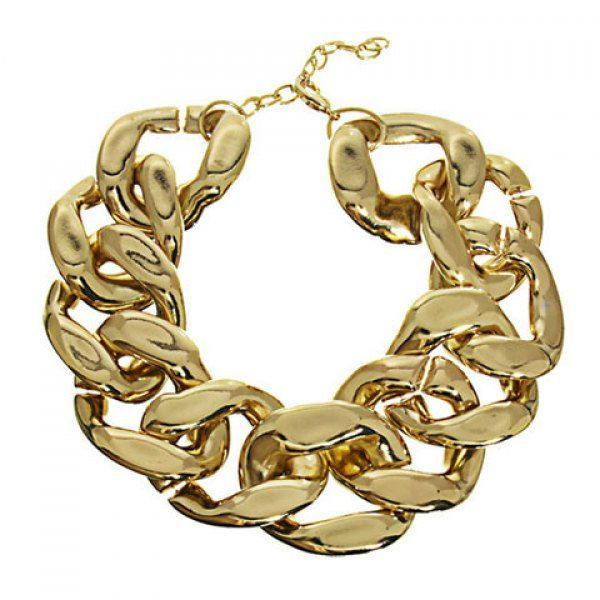 Punk Solid Color Thick CCB Chain Necklace For Women, GOLDEN in Necklaces   DressLily.com