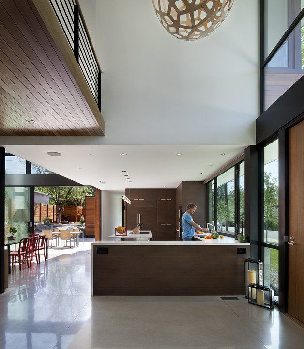 Timber feature in kitchen to ceiling.