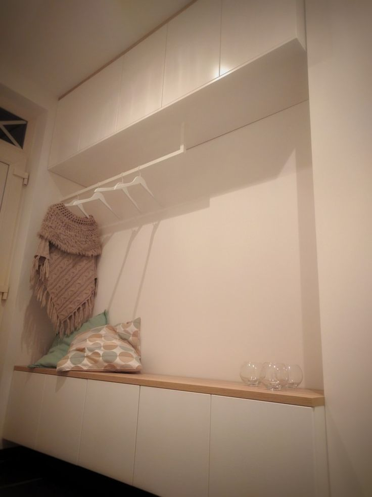 #IKEA #IKEAhack - METOD cabinets with doors and custum made wardrobe coat rail.