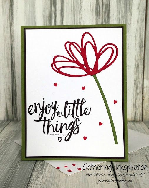 handmade card, thinking of you card, handmade thinking of you card, hand stamped, red & espresso, flower, hearts, demonstrator, paper crafting, hobby, easy, quick, rubber, stamps, stamping, craft, stampin up, paper, *Stampin' Up, by Amy Frillici, Gathering Inkspiration, order products online at amysuzanne.stampinup.net