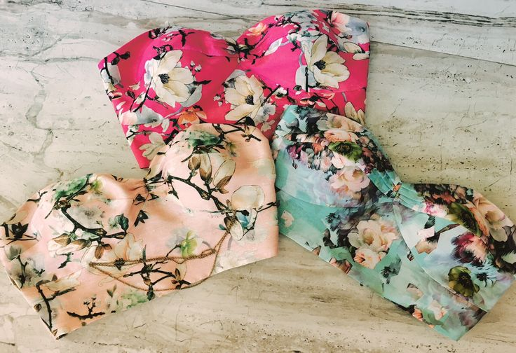 Floral bustiers in pastel shades only at Rianta's. Book now!