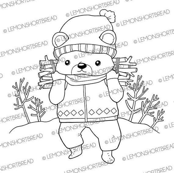 Digital Stamp Bear Lumberjack Digi Download Coloring Page Etsy Digital Stamps Coloring Pages Stamp