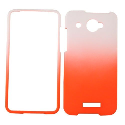 Buy Leather Finish Two Tone Rubberized Case for HTC Droid DNA - White and Orange Mobile Phone Accessories NEW for 12.6 USD | Reusell