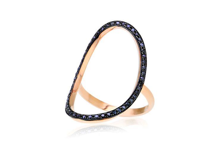 Ring With Oval Κολιέ με μαύρα cz από ροζ χρυσό 9Κ.Price: 175€
