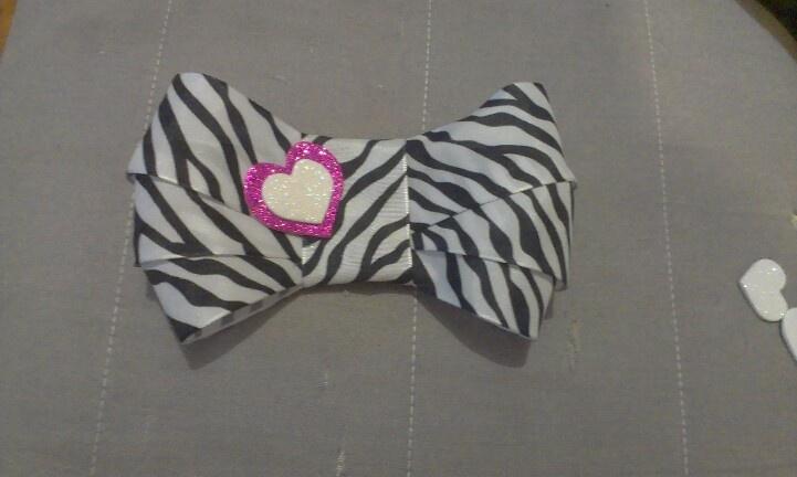 Zebra Heart Bow $12