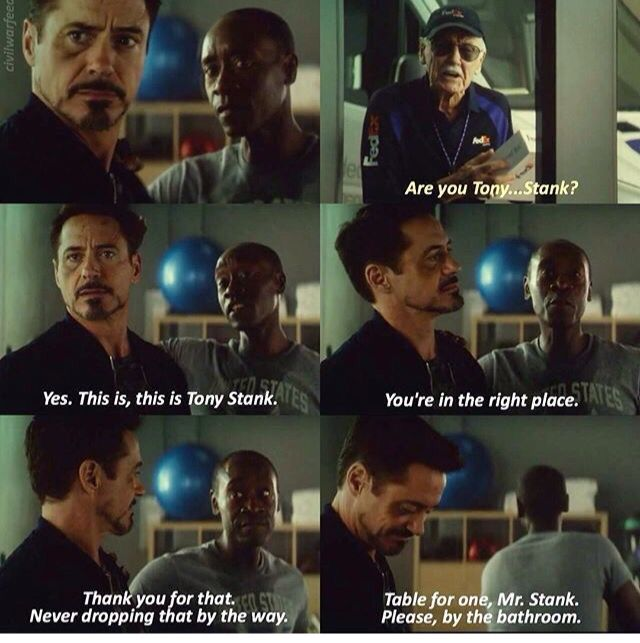 I love that, in spite of everything, Tony and Rhodey's relationship is still intact. Rhodey doesn't regret his choice in Civil War and somehow still manages to tease Tony. They were a beautiful parallel of Bucky and Steve, of what they were, what they would give up, and who they would become.