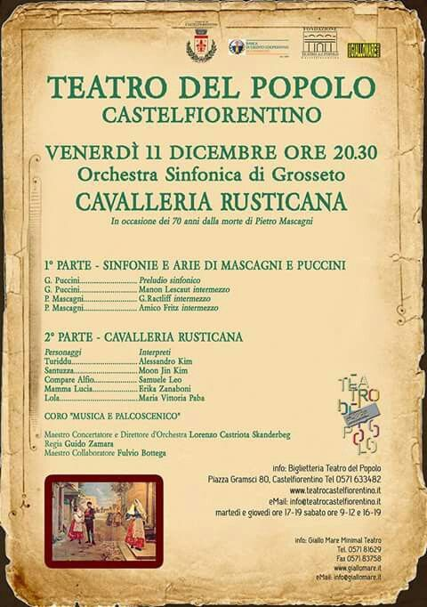 PRIMO PIANO | Venerdì 11 dicembre ore 20.30 al #teatrodelpopolo #Castelfiorentino va in scena #Mascagni #CavalleriaRusticana #opera