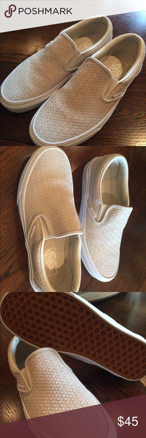 VANS slip on tennis shoes-BRAND NEW Vans classic slip ons, suede embossed weave in birch/true white (light tan/cream color). Never been worn. Brand new women's size 7.5. No box Vans Shoes Sneakers