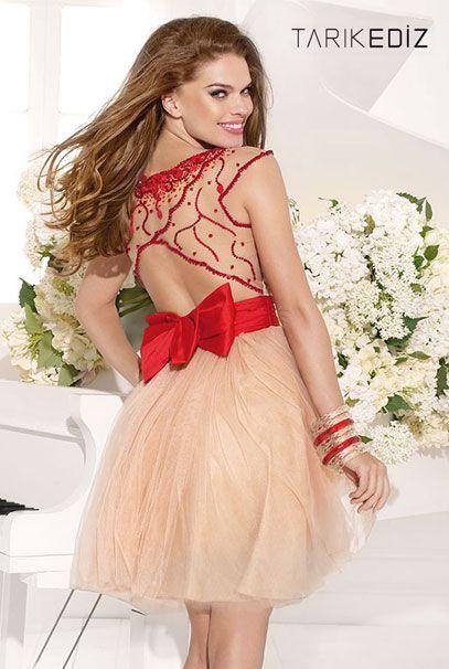 Короткие вечерние платья с бантом на талии