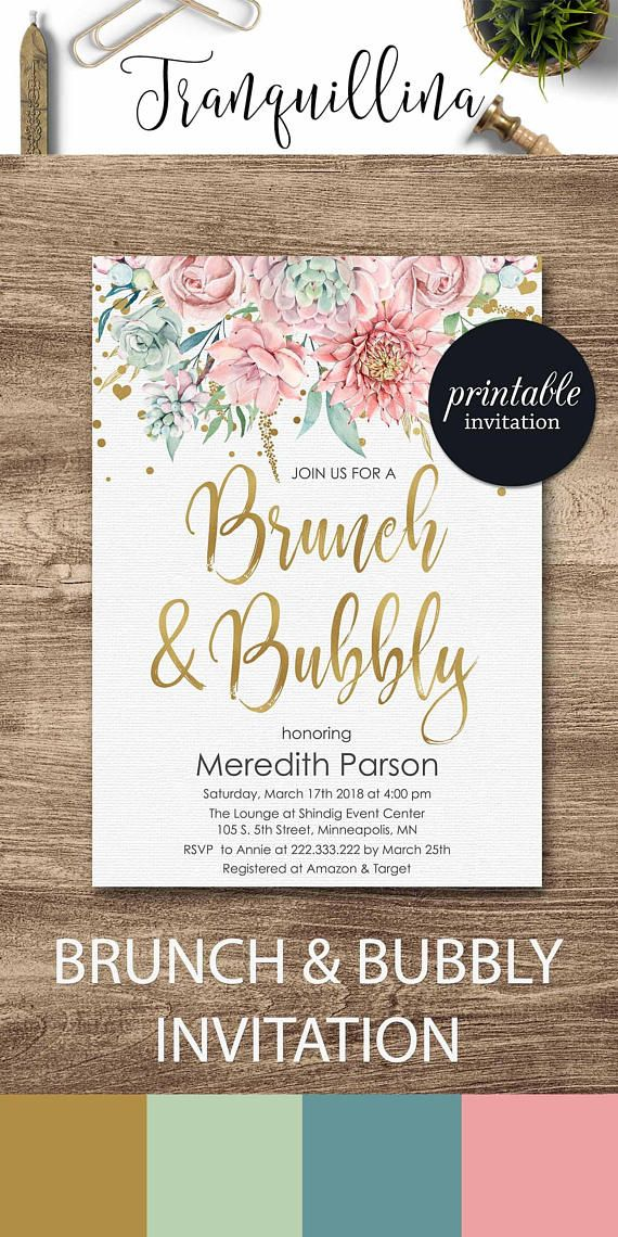 brunch and bubbly bridal shower invitation brunch bubbly baby shower invitation gold pink shower ideas floral invitation babyshower bridalshower trends