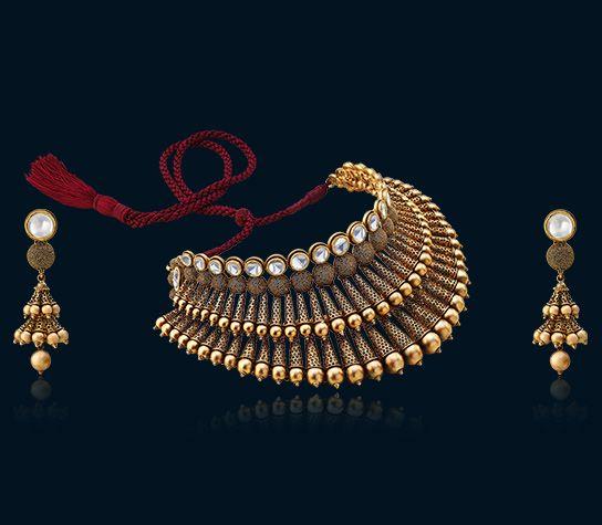 Unique Designer Gold Necklace Set