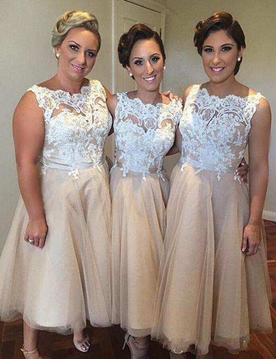Champagne bateau neck ankle length lace 2016 bridesmaid dresses wedding party dresses bridesmaid honor dresses under 100