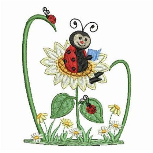 Daisy Ladybugs embroidery design
