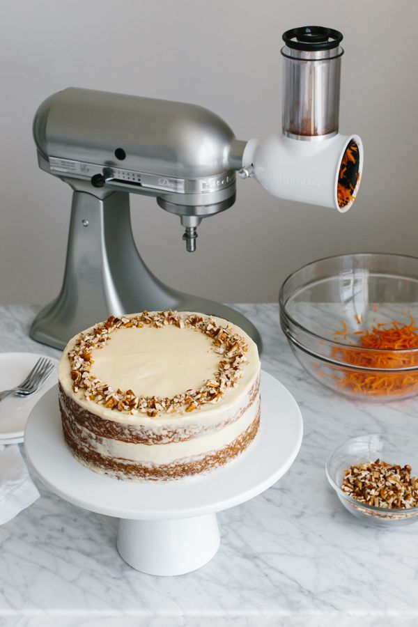 Shredding carrots is a breeze with the KitchenAid® Stand Mixer and Fresh Prep Slicer/Shredder Attachment. Use them to make @Downshiftology's Gluten-Free Carrot Cake at home. Find her recipe on our blog: http://kitchen.ai/D6kVvO