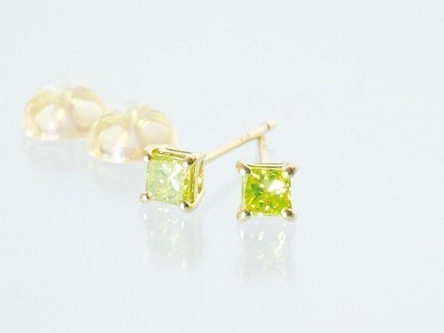 プリンセスカット イエローダイヤモンド×K18 スタッドピアス - inGod jewels