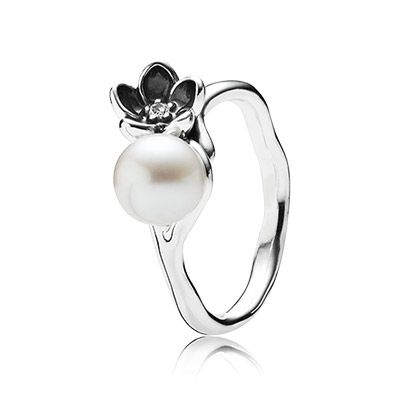 PANDORA | Floral silver ring with white freshwater cultured pearl, cubic zirconia and black enamel