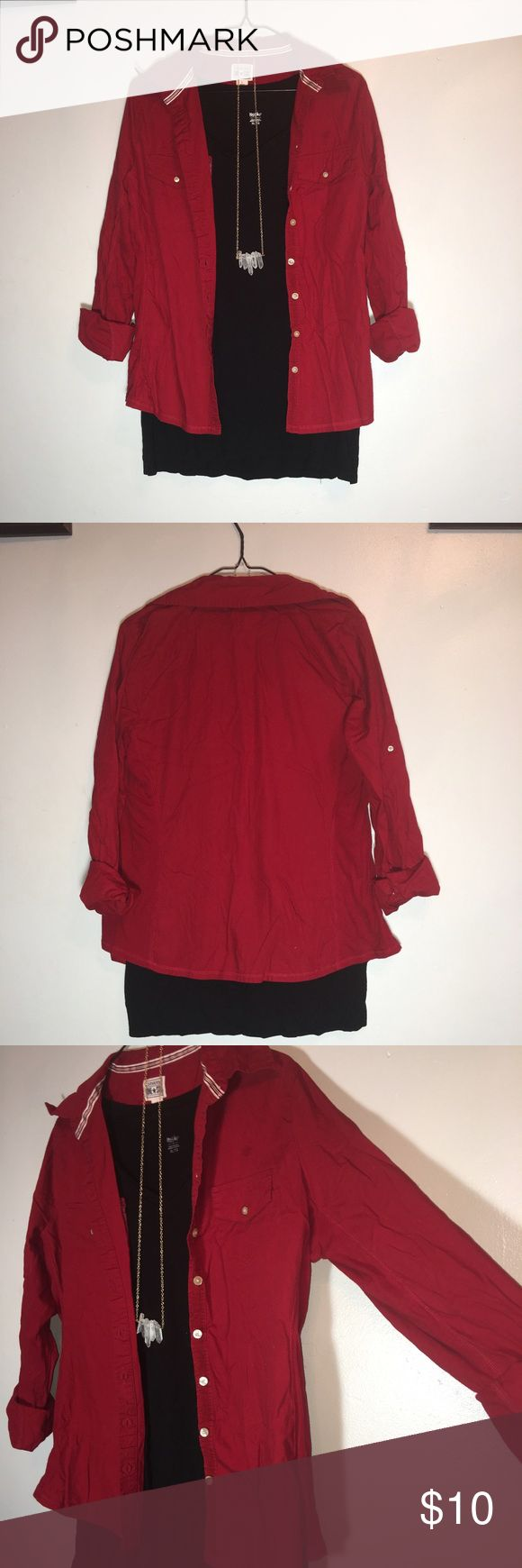 Converse Red Button Down Top, with roll up sleeves This red bottom down top from converse really pops! It is button down, collared, has two front pockets and has roll up sleeves! * black shirt and necklace not included Converse Tops Button Down Shirts