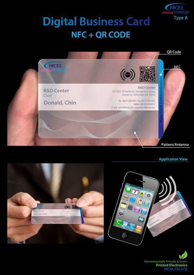 Korean comapny Hicel, a manufacturer of components for plasma display panels and liquid crystal displays, has produced the worlds first mass produced NFC Business card.