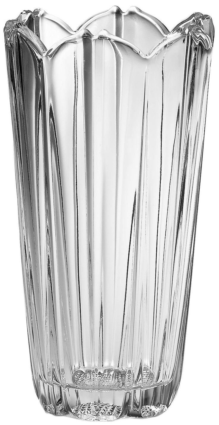 """Bormioli Rocco Corolla Flower Vase, Gift Boxed. Dishwasher safe. Vertical cuts , with scalloped rim. 9"""" height. Made in Italy."""