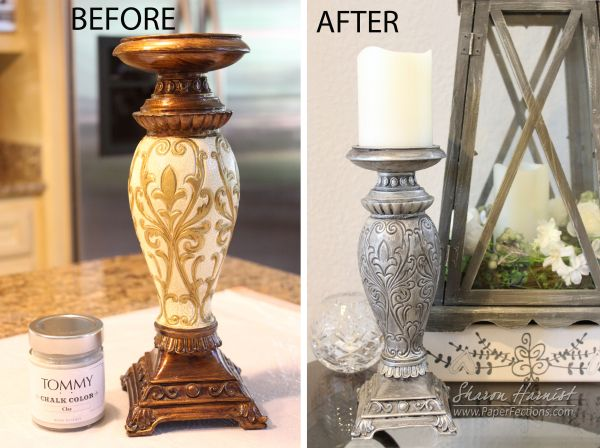 Upcycled candlestick using @TommyArt chalk paint from @ImaginationInternationalInc - Full details with stepped-out photos.