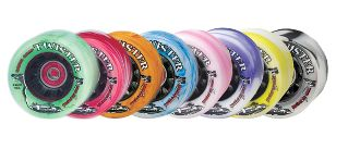 Twister  Sure-Grip speed skate wheel with swirled graphics is the most popular swirl wheel ever.  With a nylon core. http://www.shop.rollwithitct.com/Sure-Grips-Twister-Quad-Speed-Skate-Wheel-SESTWSSW.htm
