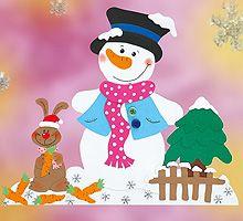 Fensterbild - Schneemann und der Möhrchendieb