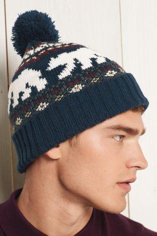 Buy Blue Polar Bear Bobble Beanie Hat from the Next UK online shop