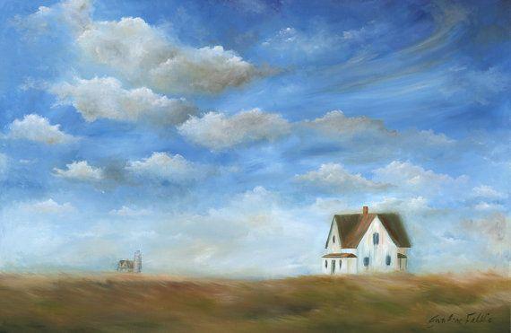Ferme blanche maison acrylique peinture Art par SnowtreeGallery