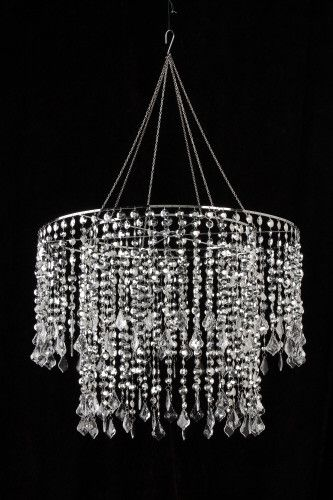 Silver Diamond Cut Beaded Chandelier -- 24 Inches Wide