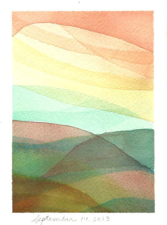 Abstract Landscape Watercolour - Pastel Painting - Sunrise - Hills