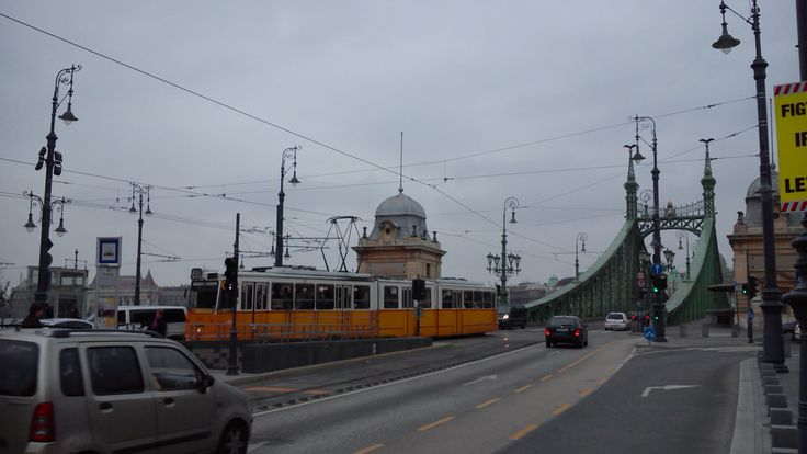 #Tram No. 49 at Szabdság Bridge, #Budapest