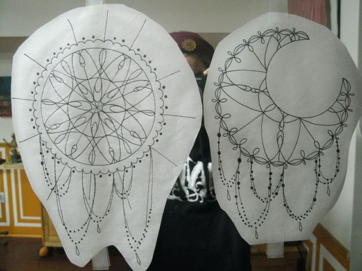 Dream Catcher And Crescent Moon Themed Mandalas Tattoos