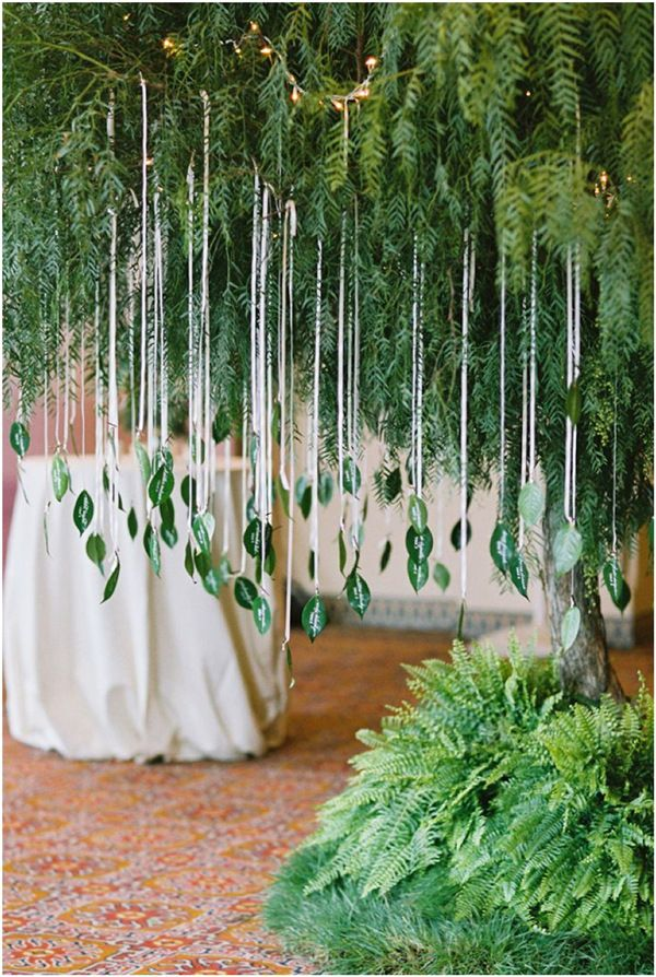 unique wedding escort cards with leaves