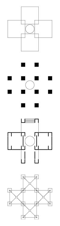 the concept of servant and served space from Kahn can be possible by understanding grid structure system. this diagram clearly shows the relationship between spaces and structure.