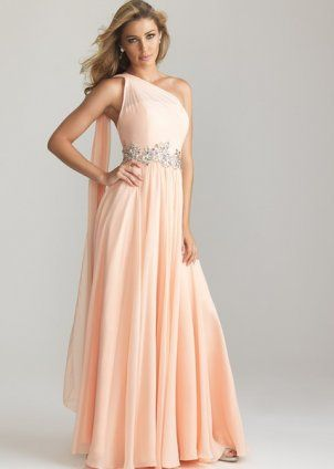 2013 Peach Long Chiffon Sparkly Drape Prom Dress [pink long prom dress with