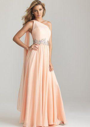 2013 Peach Long Chiffon Sparkly Drape Prom Dress [pink long prom dress with